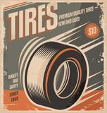 Fototapety Car tires retro poster design