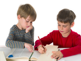 brothers learning together, education concept