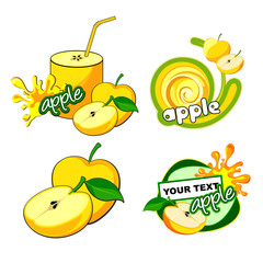 Set of labels with apple