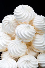 Close up of French vanilla meringue cookies