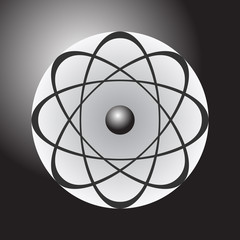 Abstract model of the atom on dark gradient background