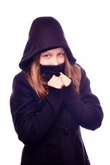Teen girl in hood