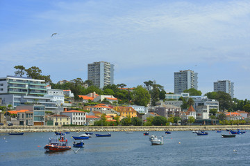 Porto city view and Douro river coast (Portugal)