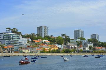 Porto city view and Douro river coast (Portugal)