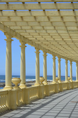 Seafront and architecture vintage colonnade in Porto coast, Port