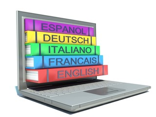 study of foreign languages. laptop