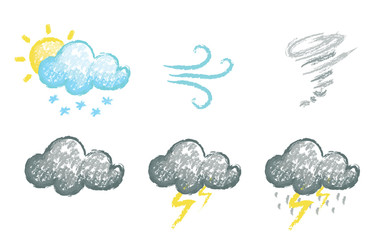 Set of hand drawn chalk stylized weather icons