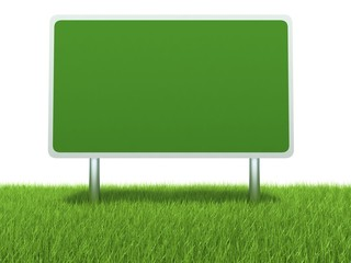 Billboard on green grass