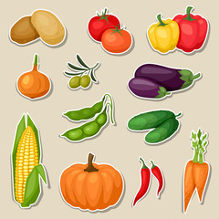 Sticker icon set of fresh ripe stylized vegetables.