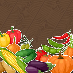 Background design with fresh ripe stylized vegetables.