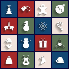 Flat icons set. Christmas and New Year. Vector