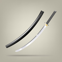 Japanese sword. Vector illustration.