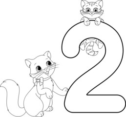 two cats coloring page