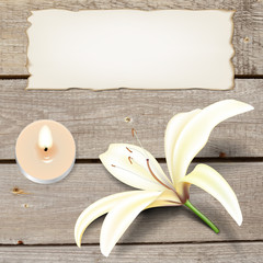 Realistic lily flower, candle and old paper on boards