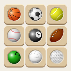 Sport balls icon set. Vector illustration.