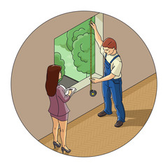 Man and woman measure window. Eps10 vector illustration.