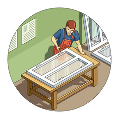 Worker make window. Eps10 vector illustration. Isolated on