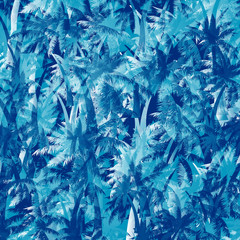 Vector palm trees seamless pattern background