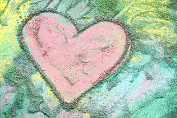 Pink Chalk Heart on Colorful Background - Art by Photographer