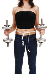 Woman with dumbbell's.