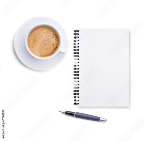 Kaffeetasse, Block und Stift
