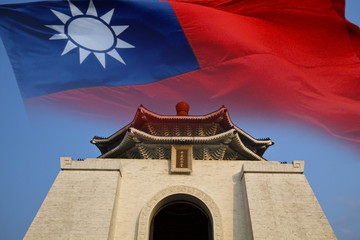 chiang kai shek memorial hall with the flag