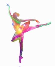 Schattenbild von Ballerina von Farben zusammengesetzt