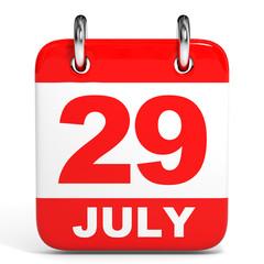 Calendar. 29 July.