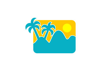 palm tree beach icon design element