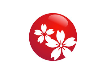 red flower icon circle vector
