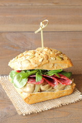 Lunchmeat, mushrooms and cornsalad sandwich