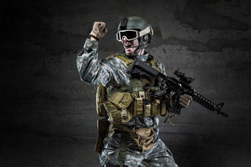 American Soldier shouting on dark background