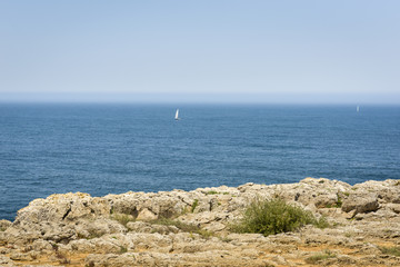 Tranquil Atlantic Ocean in Fortaleza de Sagres, of Portugal