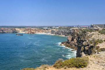 Rugged terrain surround the fortress in Fortaleza de Sagres