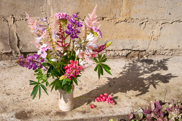 still life bouquet with lupines