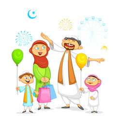 Muslim family celebrating Eid