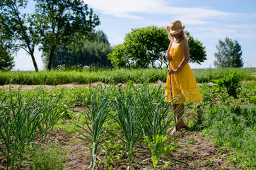 Barefoot gardener woman in dress work in garden
