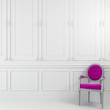 Pink chair in white interior