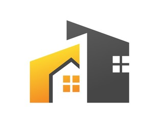 house logo real estate symbol gold rise build business icon