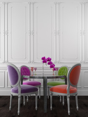 Colorful chairs at the dinner table