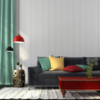 Style interior with dark blue sofa and a red table - 67009433