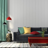 Style interior with dark blue sofa and a red table