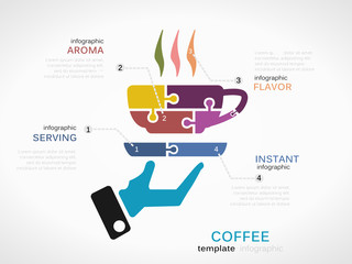 Infographic template with coffee cup made out of puzzle pieces