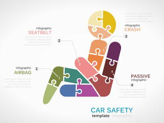 Infographic template with seatbelt made out of puzzle pieces