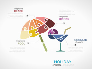 Infographic template with beach parasol and cocktail glass