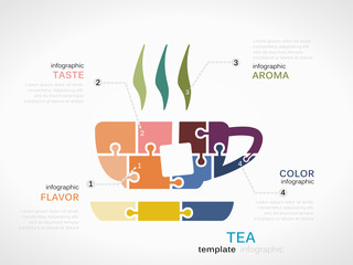 Infographic template with tea cup made out of puzzle pieces