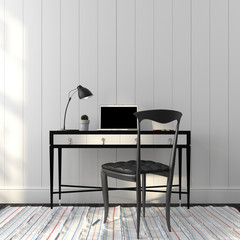 Office interior in a stylish black and white colors