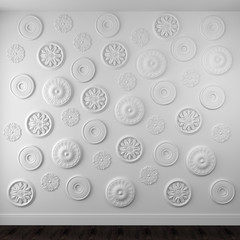 Beautiful rosettes on a white wall