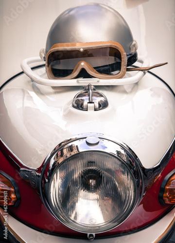 Detail of a veteran motorbike