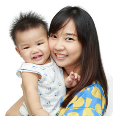 Asian young mother smile with her sun